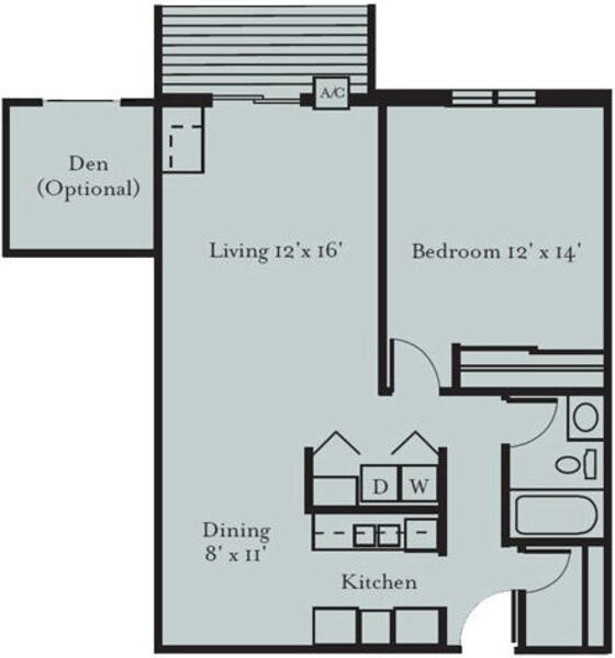 Robin - One Bedroom, One Bath with Den (1A2)