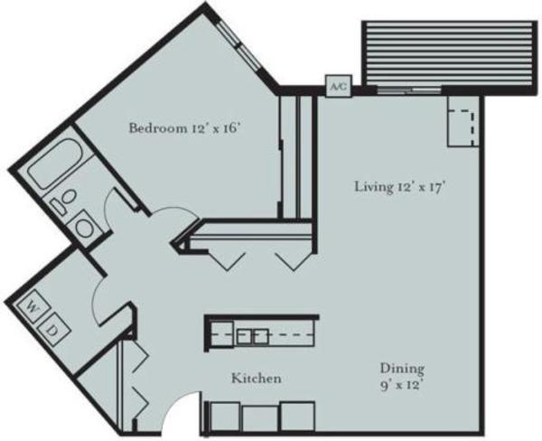 Blue Jay - One Bedroom, One Bath with Den (1D2)