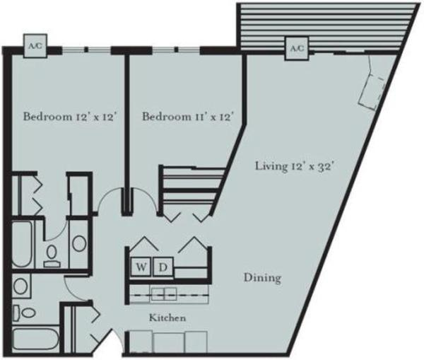 Woodland - Two Bedroom, Two Bath (2C)